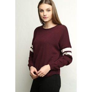 BRANDY MELVILLE Veena Varsity Burgandy Sweater